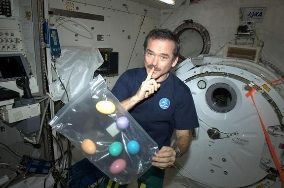 Canadian astronaut Chris Hadfield, Expedition 35 commander, shows the six Easter eggs he packed for his six-man International Space Station crew in a photo posted to Twitter on Easter Sunday, March 31, 2013.