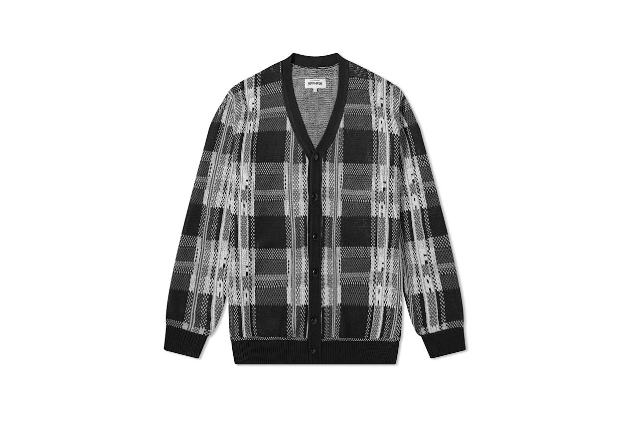 "$165, End Clothing. <a href=""https://www.endclothing.com/us/fucking-awesome-freak-plaid-knit-cardigan-fa0438-blk.html"">Get it now!</a>"