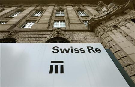 The logo of the world's second biggest reinsurer Swiss Re is seen in Zurich