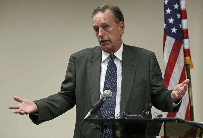 FILE - In This July 19, 2018, file photo, Washington County Attorney Pete Orput speaks in Saint Paul, Minn., during a press conference. Prosecutor Pete Orput will be handling the case against former Brooklyn Center, Minn., police Officer Kim Potter who is charged with manslaughter in the shooting death of Daunte Wright, during a traffic stop on April 11, 2021 in a Minneapolis suburb. (Shari L. Gross/Star Tribune via AP, File)