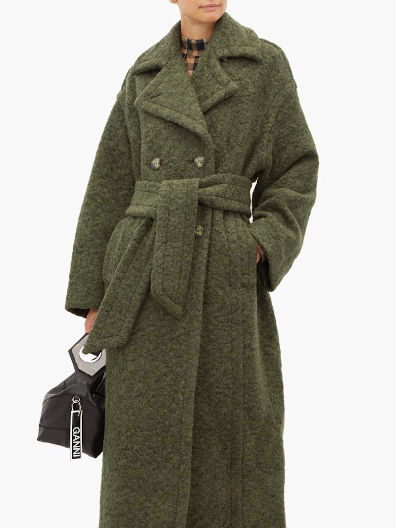 Ganni belted double-breasted wool-blend coat. (Credit: Matches Fashion)