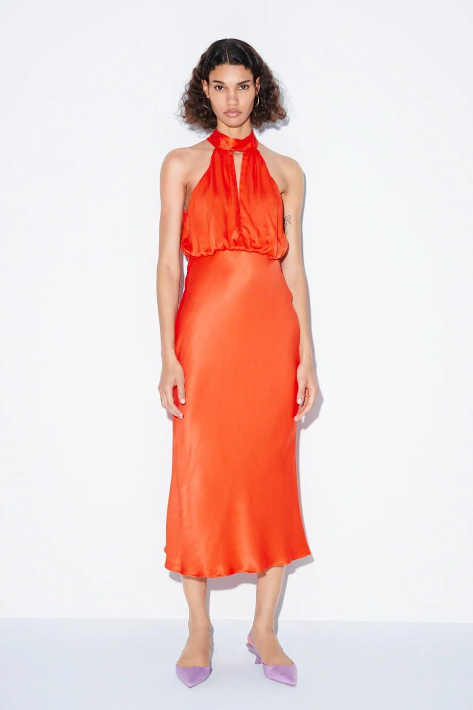 <p>The festive look and rich fabric of this <span>Satin Effect Halter Dress</span> ($70) definitely pack some glam, so save it for the next birthday party or when you're celebrating that job promotion. </p>