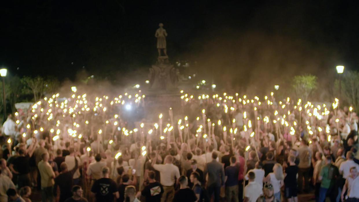 "A scene from the torch rally in Charlottesville on Aug. 11, 2017, from ""VICE News Tonight on HBO."""
