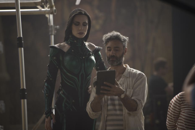 Cate Blanchett and director Taika Waititi on the set of <i>Thor: Ragnarok.</i> (Photo: Walt Disney Studios Motion Pictures/Marvel Studios)