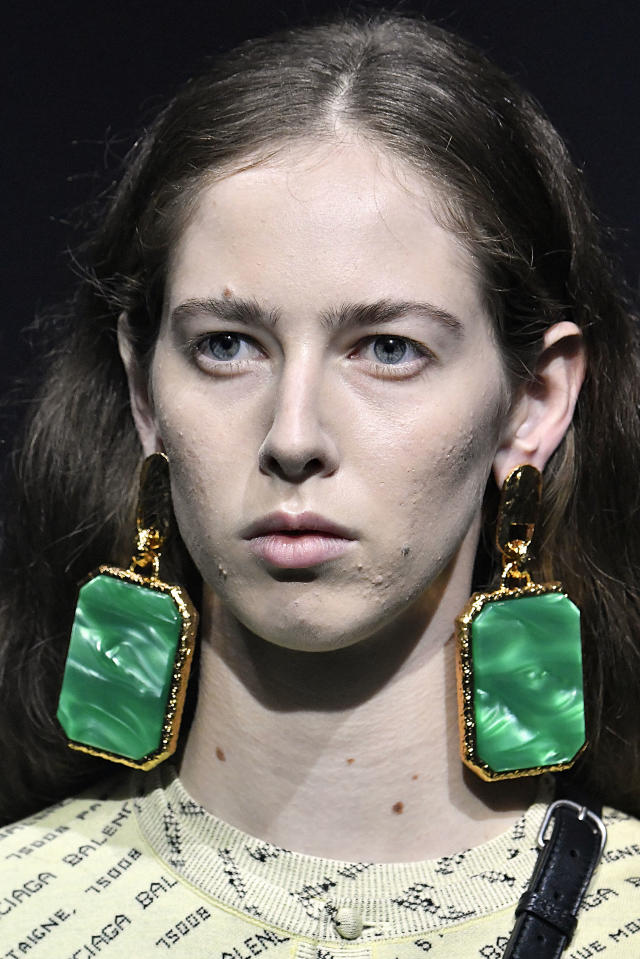<p><i>Large statement earrings from the SS18 Balenciaga collection. (Photo: Getty) </i></p>