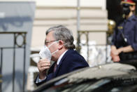 Russia's Governor to the International Atomic Energy Agency (IAEA), Mikhail Ulyanov, enters the 'Grand Hotel Wien' where closed-door nuclear talks with Iran take place in Vienna, Austria, Saturday, May 1, 2021. (AP Photo/Lisa Leutner)