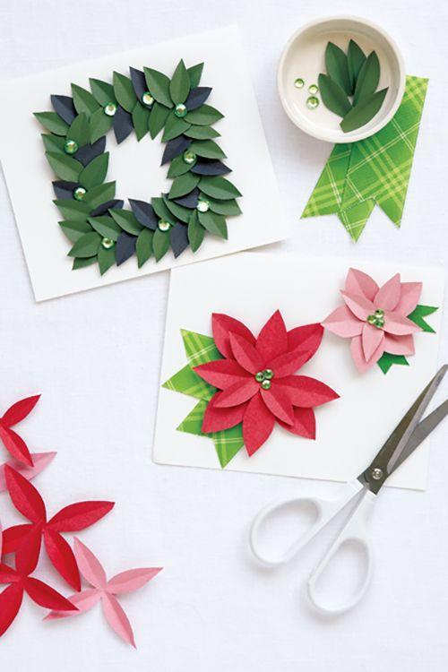"""<p>Even the most basic crafters can snip and shape a festive magnolia wreath or poinsettia display from paper, thanks to this easy tutorial.</p><p><strong>Get the tutorial at <a href=""""http://www.styleathome.com/how-to/diy-projects/article/diy-holiday-cards"""" rel=""""nofollow noopener"""" target=""""_blank"""" data-ylk=""""slk:Style At Home"""" class=""""link rapid-noclick-resp"""">Style At Home</a>.</strong></p>"""
