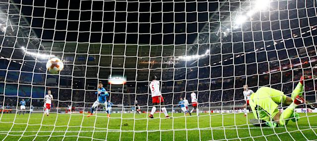 Soccer Football - Europa League Round of 32 Second Leg - RB Leipzig vs Napoli - Red Bull Arena, Leipzig, Germany - February 22, 2018 Napoli's Lorenzo Insigne celebrates scoring their second goal REUTERS/Fabrizio Bensch