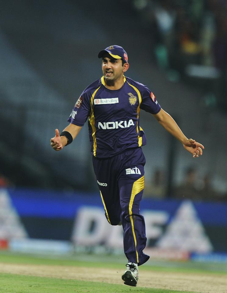 Kolkata Knight Riders captain Gautam Gambhir celebrates after the dismissal of Pune Warriors India batsman Manish Pandey during the IPL Twenty20 cricket match between Kolkata Knight Riders and Pune Warriors at The Eden Gardens in Kolkata on May 5, 2012.  RESTRICTED TO EDITORIAL USE. MOBILE USE WITHIN NEWS PACKAGE.  AFP PHOTO/Dibyangshu SARKAR        (Photo credit should read DIBYANGSHU SARKAR/AFP/GettyImages)
