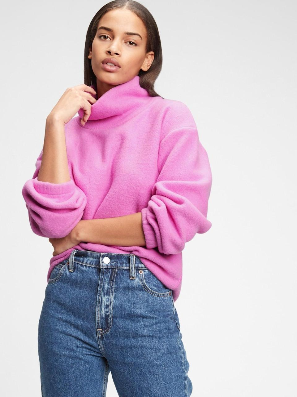 <p>This <span>Gap Fleece Turtleneck Sweatshirt</span> ($24-$30, originally $60) is one warm layering piece you'll reach for whenever it's cold. </p>