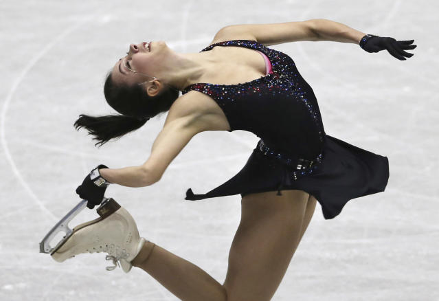 Russia's Elizaveta Tuktamysheva performs during a Ladies short program of the NHK Trophy Figure Skating in Hiroshima, Western Japan, Friday, Nov. 9, 2018. (AP Photo/Koji Sasahara)