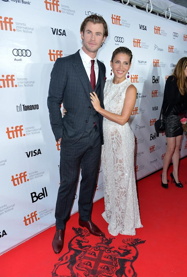 "TORONTO, ON - SEPTEMBER 08: Actor Chris Hemsworth and wife Elsa Pataky attend the ""Rush"" premiere during the 2013 Toronto International Film Festival at Roy Thomson Hall on September 8, 2013 in Toronto, Canada. (Photo by Alberto E. Rodriguez/Getty Images)"