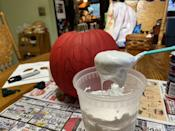 <p>After you've mixed the white school glue and shaving cream together, you're going to want to check the consistency. It should be thick like brownie batter, not thin like cake batter.</p>