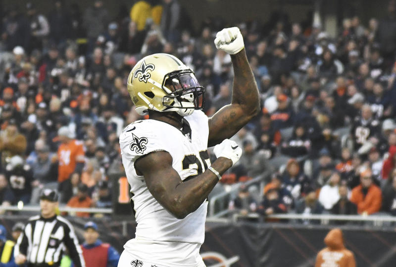 CHICAGO, ILLINOIS - OCTOBER 20: Latavius Murray #28 of the New Orleans Saints celebrates his touchdown against the Chicago Bears during the second half at Soldier Field on October 20, 2019 in Chicago, Illinois. (Photo by David Banks/Getty Images)