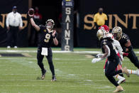 New Orleans Saints quarterback Drew Brees (9) passes in the second half of an NFL football game against the Kansas City Chiefs in New Orleans, Sunday, Dec. 20, 2020. the Chiefs won 32-29. (AP Photo/Butch Dill)