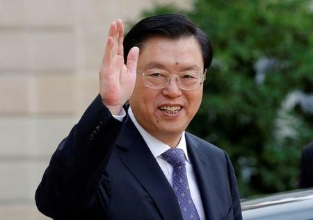 China's National People's Congress (NPC) Chairman Zhang Dejiang leaves the Elysee palace in Paris