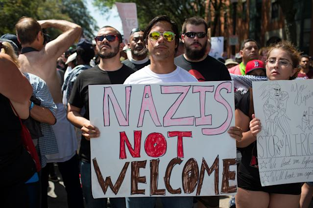 <p>Thousands of counter protesters march down Tremont Street in response to an 'Alt–Right' 'Free Speech Rally' on the Boston Common in Boston, Mass., Aug. 19, 2017. (Photo: Matthew Healey/EPA/REX/Shutterstock) </p>
