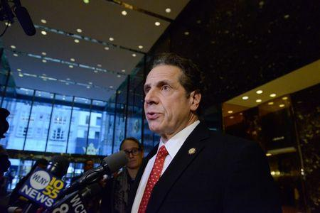 Andrew Cuomo, Governor of New York, speaks to members of the press at Trump Tower in New York City