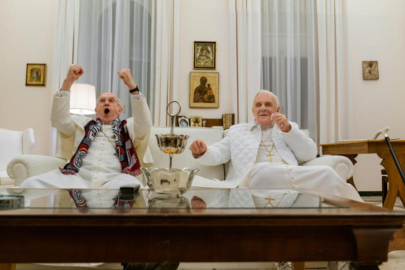 Jonathan Pryce and Anthony Hopkins in 'The Two Popes' | Netflix