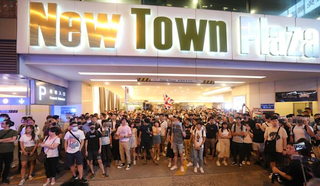 Protesters say they will boycott New Town Plaza and all other shopping malls owned by the group – Sun Hung Kai Properties – if the management fails to provide a satisfactory response defending police deployment. Photo: Stanley Shin