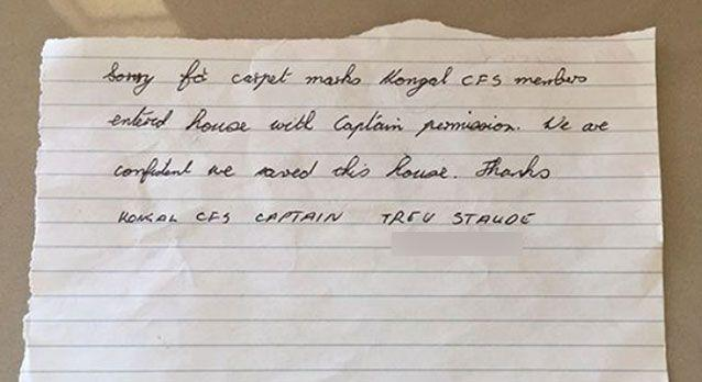 The CFS left the couple a note. Source: Supplied / Asha Crozier