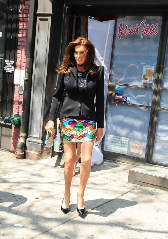 <p>While most people go home to rip the tags off and change into their new purchases, Jenner just couldn't wait to get back to her hotel. At the Patricia Field store in New York City, she switched out her cheetah-print wrap dress for a rainbow sequined miniskirt and structured scuba black jacket.</p>