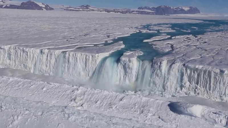 A 120m-wide waterfall drains from the Nansen Ice Shelf into the ocean (Won Sang Lee/Korea Polar Research Institute)