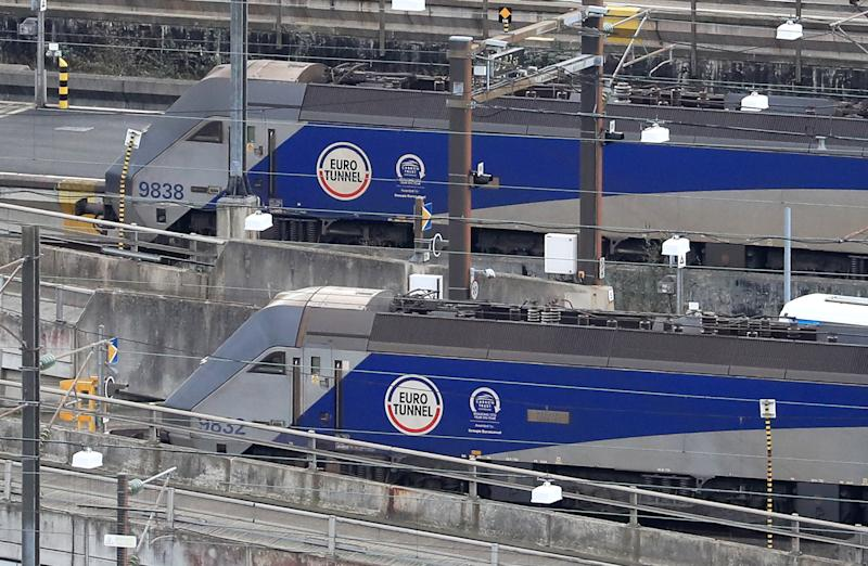 Eurotunnel trains at Eurotunnel in Folkestone, Kent, ahead of the debate and vote on the Brexit motion at the House of Commons, London.