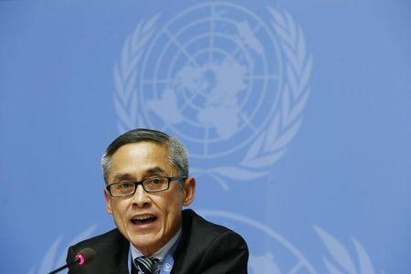 Vitit Muntarbhorn adresses the media during a news conference at the United Nations headquarters in Geneva, Switzerland, June 23, 2015.  REUTERS/Pierre Albouy