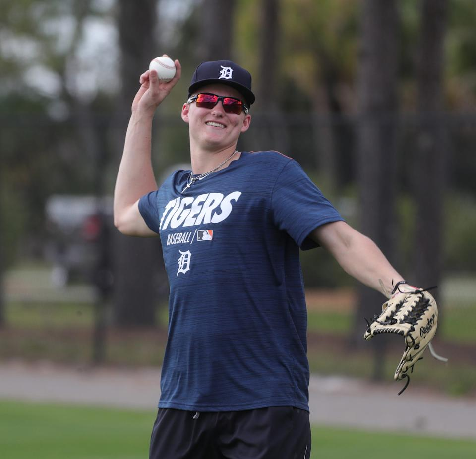 Tigers outfield prospect Parker Meadows warms up during spring training Wednesday, Feb. 20, 2019, at Joker Marchant Stadium in Lakeland, Fla.