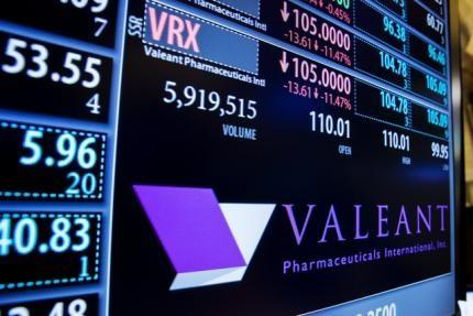 A board shows the name of Valeant Pharmaceuticals above the floor of the New York Stock Exchange shortly after the opening of the markets in New York