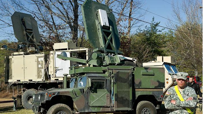 The Active Denial System (ADS) uses a microwave beam to make targets feel like their skin is burning