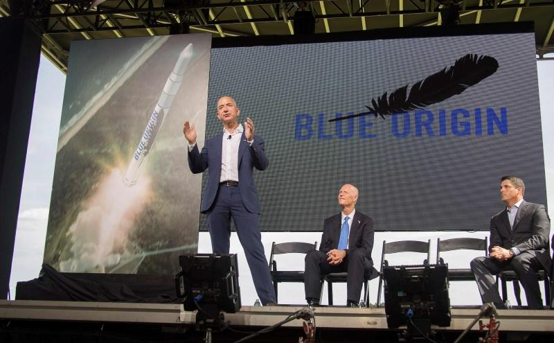 Amazon founder and Blue Origin founder Jeff Bezos announces plans to build a rocket manufacturing plant and launch site at Cape Canaveral Air Force Station