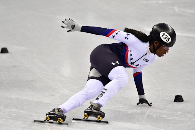 USA's Maame Biney takes part in the women's 500m short track speed skating heat event during the PyeongChang 2018 Winter Olympic Games. (Getty Images)