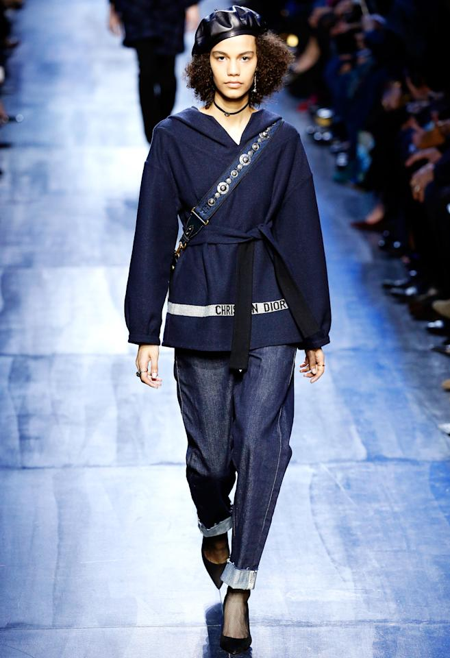 <p>Many of the looks featured deliciously large hoods--on dresses, sweaters, coats. Hoods so big you could fit a medium-sized lunch box inside of it.</p>