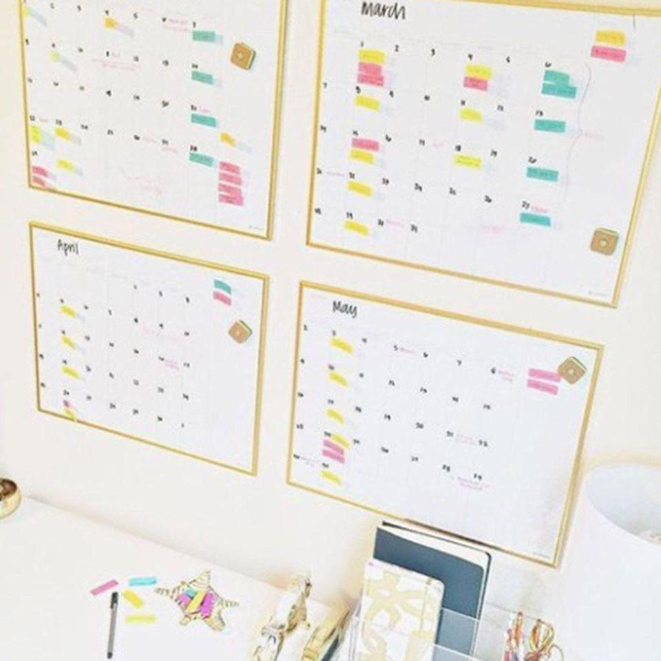 """<p>Washi tape your calendar for the following months on your wall, so you have a visual representation of how long it actually is until exams.</p><p>(<a href=""""https://www.pinterest.co.uk/pin/267401296604824774/"""" rel=""""nofollow noopener"""" target=""""_blank"""" data-ylk=""""slk:via"""" class=""""link rapid-noclick-resp"""">via</a>)</p>"""