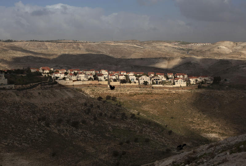 In this photo taken on Sunday, Feb. 24, 2013, a  general view of the Jewish settlement of Maaleh Adumim is seen on the outskirts of Jerusalem. President Barack Obama is coming to town, and it seems like everyone in Israel wants to be a part of the historic visit. One invitation has come from Benny Kashriel, the mayor of the West Bank Jewish settlement Maaleh Adumim. Kashriel wants to host Obama in a contested area known as E-1, where Israel envisages construction of more than 3,000 apartments. (AP Photo/Sebastian Scheiner)