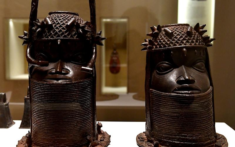 Relics from the 18th century Kingdom of Benin on display at the Quai Branly, a museum featuring the indigenous art and cultures of Africa - AFP