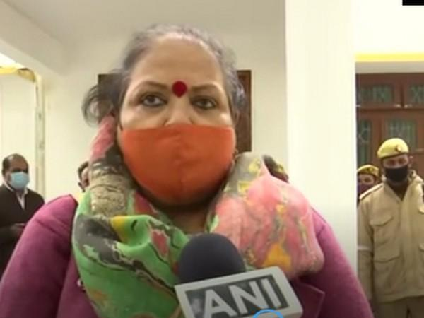 Chandramukhi Devi, a member of NCW team visiting Badaun. (Photo/ ANI)