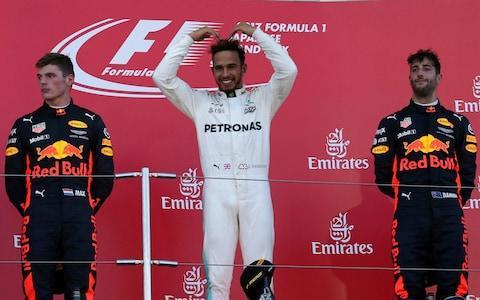 <span>Lewis Hamilton (C) does the Mobot for his friend Mo Farah, who was in the crowd</span> <span>Credit: AP </span>