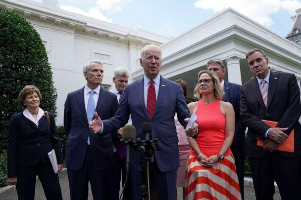 PHOTO: President Joe Biden speaks following a bipartisan meeting with senators about the proposed framework for the infrastructure bill, at the White House in Washington, June 24, 2021. (Kevin Lamarque/Reuters)