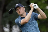 FILE - In this May 29, 2021, file photo, Jordan Spieth plays his shot from the 12th tee during the third round of the Charles Schwab Challenge golf tournament at the Colonial Country Club in Fort Worth, Texas. (AP Photo/Ron Jenkins, File)