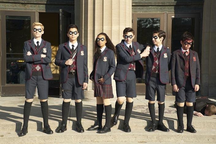 """<p>With some classic school uniforms and superhero masks, you and your team can become members of the Umbrella Academy. </p><p><a class=""""link rapid-noclick-resp"""" href=""""https://www.amazon.com/LuckCollector-Umbrella-Uniform-Academy-Cosplay/dp/B08H1WRZQ4?tag=syn-yahoo-20&ascsubtag=%5Bartid%7C10070.g.3083%5Bsrc%7Cyahoo-us"""" rel=""""nofollow noopener"""" target=""""_blank"""" data-ylk=""""slk:SHOP SCHOOL UNIFORMS"""">SHOP SCHOOL UNIFORMS</a></p>"""
