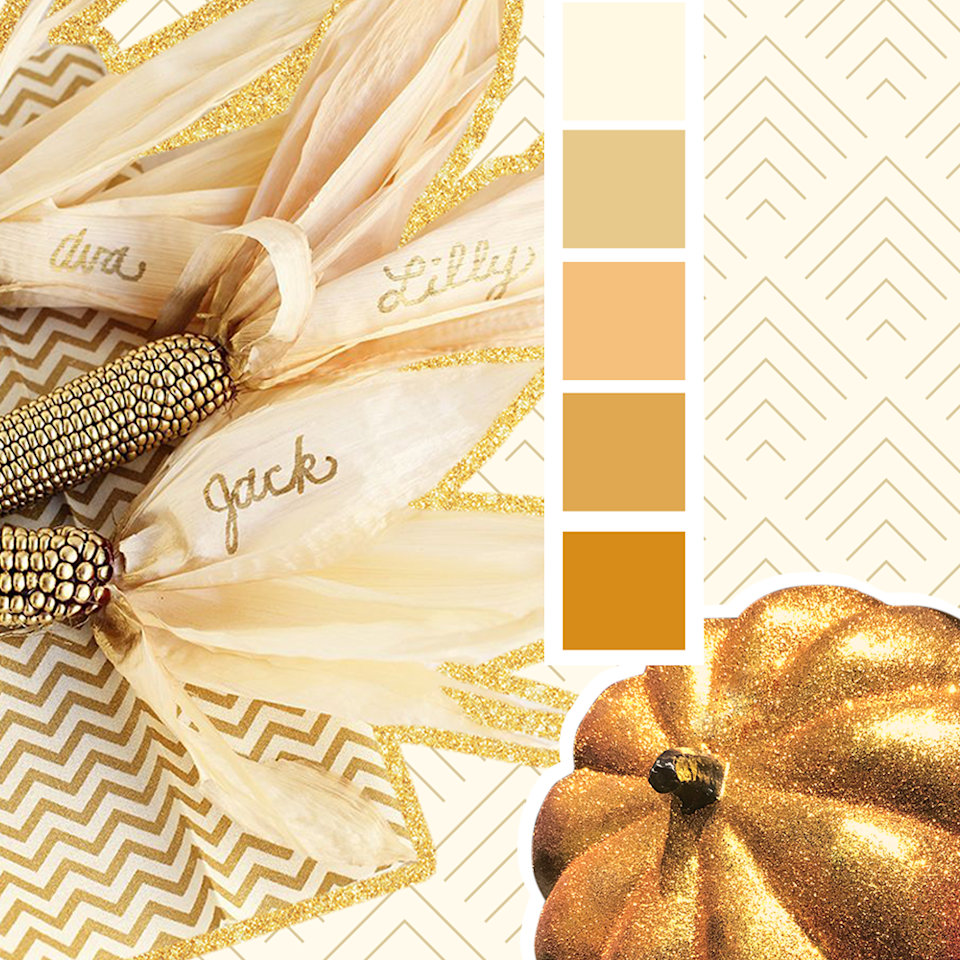 "<p>A shimmering gold color looks great year round. Some gilded accents on your dinner table will certainly add a chic touch. </p><p><a class=""link rapid-noclick-resp"" href=""https://www.amazon.com/Jacquard-Lumiere-Metallic-Acrylic-Ounces-True/dp/B001DKJES0/?tag=syn-yahoo-20&ascsubtag=%5Bartid%7C10055.g.29641159%5Bsrc%7Cyahoo-us"" rel=""nofollow noopener"" target=""_blank"" data-ylk=""slk:SHOP GOLD PAINT"">SHOP GOLD PAINT</a></p><p><em><a href=""http://www.freutcake.com/art-design/diy-art-design/thanksgiving-gold-corn-place-holders/"" rel=""nofollow noopener"" target=""_blank"" data-ylk=""slk:See more at Freutcake »"" class=""link rapid-noclick-resp"">See more at Freutcake »</a></em></p>"