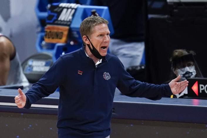 Gonzaga head coach Mark Few questions a call against Norfolk State during the first half of a men's college basketball game in the first round of the NCAA tournament at Bankers Life Fieldhouse in Indianapolis, Saturday, March 20, 2021. (AP Photo/Paul Sancya)
