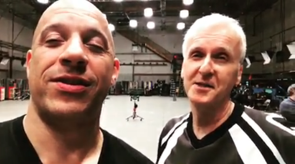 Vin Diesel on the set of Avatar with James Cameron (Credit: Instagram)