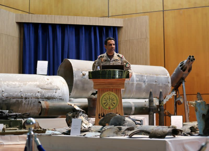 FILE PHOTO: Saudi-led coalition spokesman, Colonel Turki al-Malki, speaks during a news conference in Riyadh