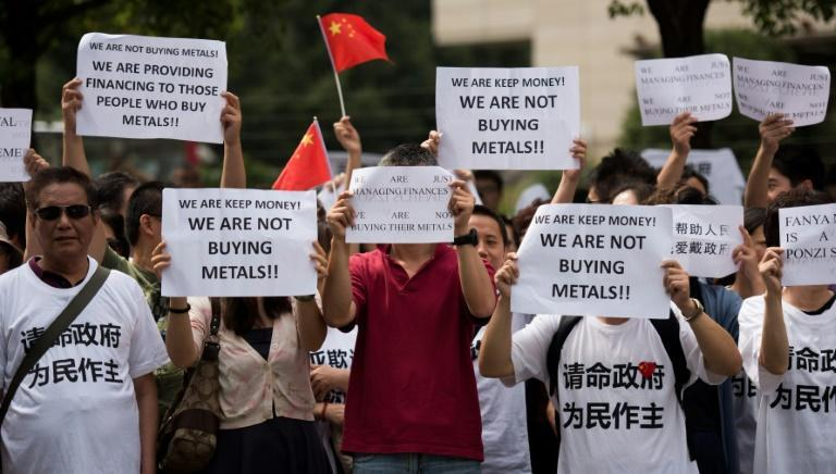 In October 2015, a payment crisis at state-managed Fanya Metals Exchange sparked protests in Beijing and Shanghai, with police detaining hundreds in the capital
