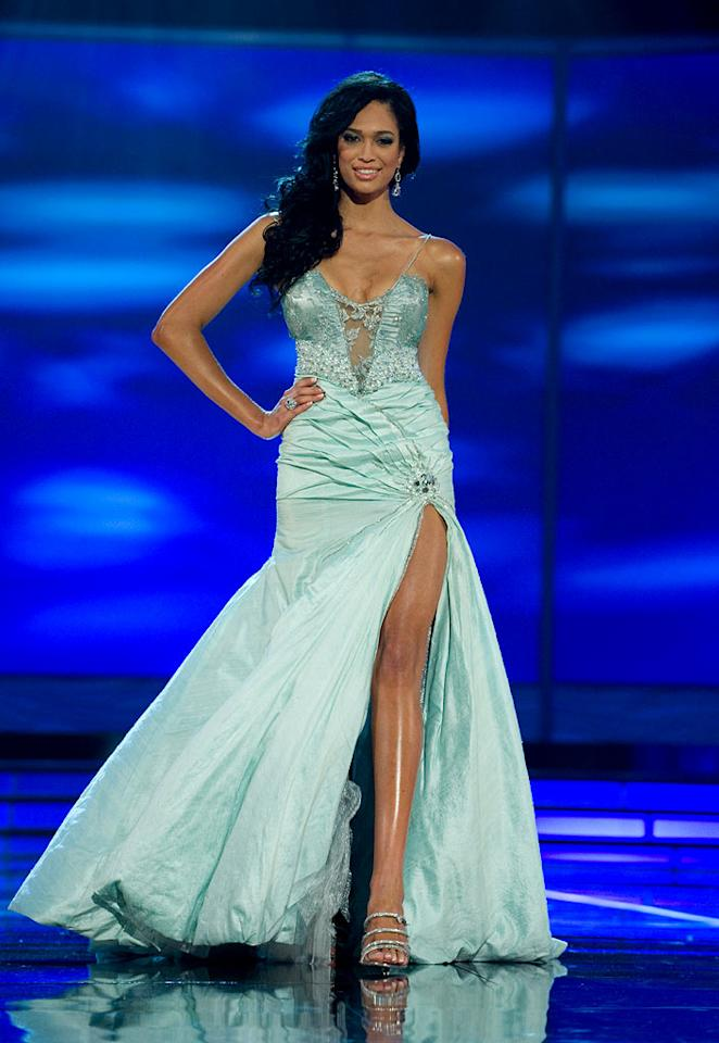 Tatum Keshwar, Miss South Africa 2009, competes as a top 10 finalist in an evening gown of her choice during the 58th annual Miss Universe competition from Atlantis, Paradise Island, Bahamas.