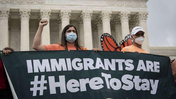 PHOTO: DACA recipients and their supporters rally outside the U.S. Supreme Court on June 18, 2020, in Washington, DC. (Drew Angerer/Getty Images)